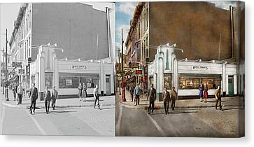 City - Amsterdam Ny - Hamburgers 5 Cents 1941- Side By Side Canvas Print by Mike Savad