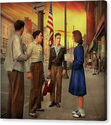 Canvas Print - City - Amsterdam Ny - The Bowling Score 1941 by Mike Savad