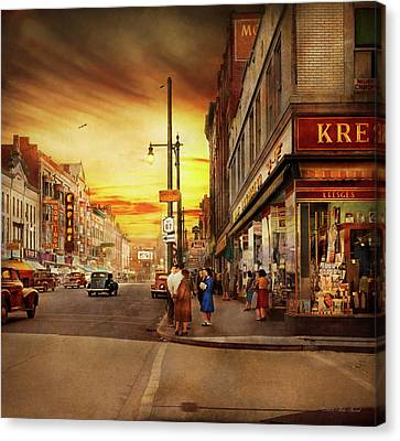 Canvas Print featuring the photograph City - Amsterdam Ny - The Lost City 1941 by Mike Savad