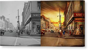 Canvas Print featuring the photograph City - Amsterdam Ny - The Lost City 1941 - Side By Side by Mike Savad