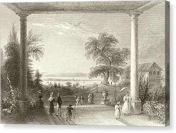 City And Lake Of Constance From The Chateau Wolfsberg Canvas Print by William Henry Bartlett