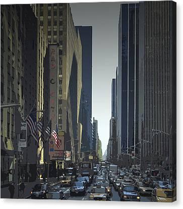 City-art 6th Avenue Ny  Canvas Print by Melanie Viola