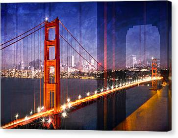 City Art Golden Gate Bridge Composing Canvas Print by Melanie Viola