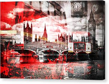 City-art London Red Bus Composing Canvas Print by Melanie Viola