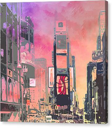 City-art Ny Times Square Canvas Print by Melanie Viola