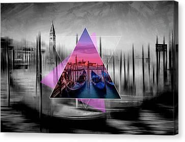 City Art Venice Canal Grande And Gondolas At Sunset - Geometric Collage II Canvas Print by Melanie Viola