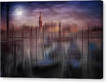 City-art Venice Gondolas At Sunset Canvas Print by Melanie Viola