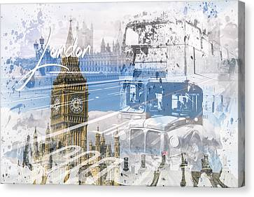 City Art Westminster Collage Canvas Print by Melanie Viola