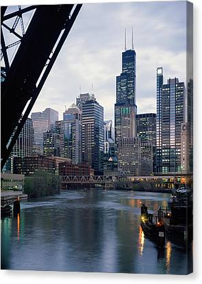 City At The Waterfront, Chicago River Canvas Print by Panoramic Images