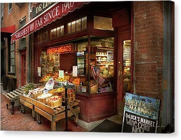 City - Boston Ma - Fresh Meats And Fruit Canvas Print by Mike Savad
