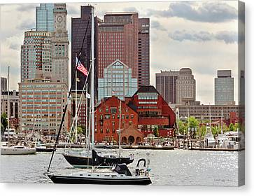 Canvas Print - City - Boston Ma - Harbor Walk Skyline by Mike Savad