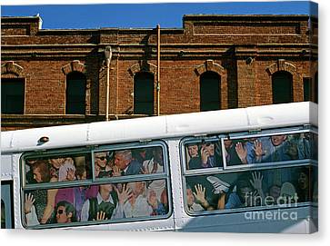 Bus In San Francisco Canvas Print - City Bus Ad With People Stuffed Into Bus  by Jim Corwin
