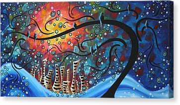 Pop Canvas Print - City By The Sea By Madart by Megan Duncanson