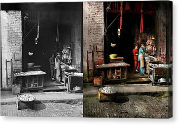 City - California - Fish Alley Smells Fowl 1886 - Side By Side Canvas Print by Mike Savad