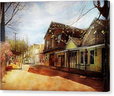 City - California - The Town Of Downieville 1933 Canvas Print by Mike Savad