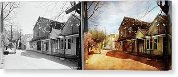 City - California - The Town Of Downieville 1933- Side By Side Canvas Print by Mike Savad