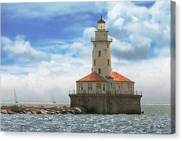 City - Chicago Il - Chicago Harbor Lighthouse Canvas Print by Mike Savad