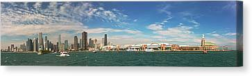 City - Chicago Il -  Chicago Skyline And The Navy Pier Canvas Print
