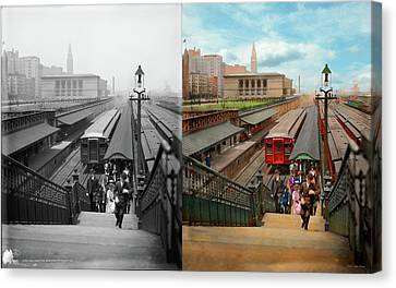 Canvas Print - City - Chicago - The Van Buren Street Station 1907 - Side By Side by Mike Savad