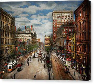City - Cincinnati Oh - Tyler Davidson Fountain 1907 Canvas Print by Mike Savad