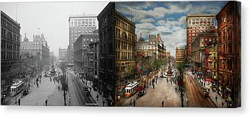 City - Cincinnati Oh - Tyler Davidson Fountain 1907 - Side By Side Canvas Print by Mike Savad
