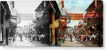 Canvas Print featuring the photograph City - Coney Island Ny - Bowery Beer 1903 - Side By Side by Mike Savad