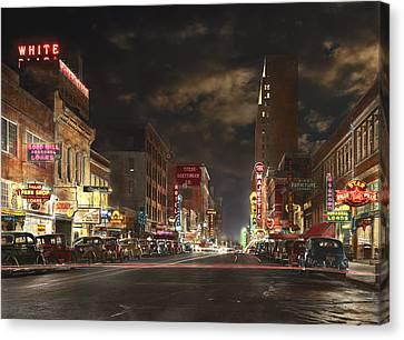 City - Dallas Tx - Elm Street At Night 1941 Canvas Print by Mike Savad