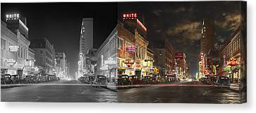 City - Dallas Tx - Elm Street At Night 1941 - Side By Side Canvas Print by Mike Savad