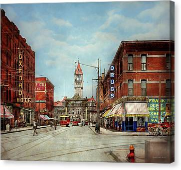 City - Denver Colorado - Welcome To Denver 1908 Canvas Print by Mike Savad