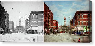 City - Denver Colorado - Welcome To Denver 1908 - Side By Side Canvas Print by Mike Savad