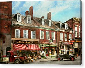 City - Easton Md - A Slice Of American Life 1936 Canvas Print by Mike Savad