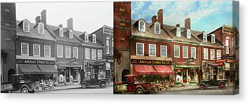 City - Easton Md - A Slice Of American Life 1936 - Side By Side Canvas Print by Mike Savad