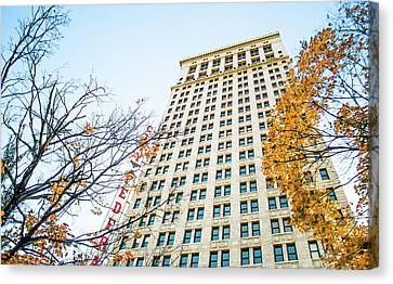 Canvas Print featuring the photograph City Federal Building In Autumn - Birmingham, Alabama by Shelby Young