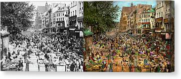 City - France - Les Halles De Paris 1920 - Side By Side Canvas Print by Mike Savad