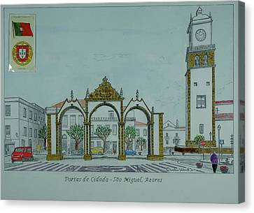 Miguel Drawing Canvas Print - City Gates, San Miguel,azores by William Goldsmith