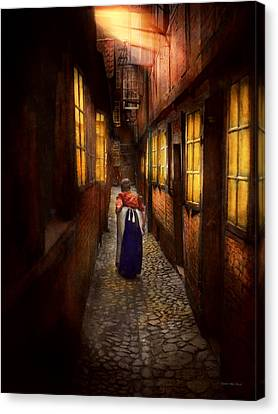 City - Germany - Alley - A Long Hard Life 1904 Canvas Print by Mike Savad