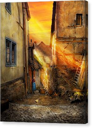 Charming Cottage Canvas Print - City - Germany - Alley - The Farmers Wife 1904 by Mike Savad