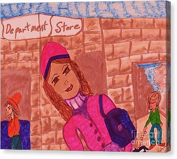 Store Fronts Canvas Print - City Girl by Elinor Rakowski