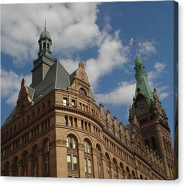City Hall Roof And Tower Canvas Print by Anita Burgermeister