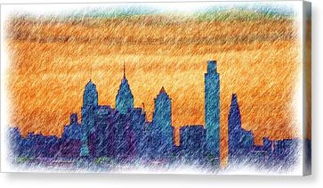City In Pencil Canvas Print by Thomas  MacPherson Jr