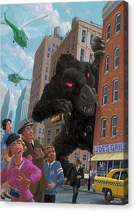 City Invasion Furry Monster Canvas Print by Martin Davey