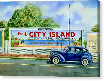 City Island Billboard Canvas Print by Marguerite Chadwick-Juner