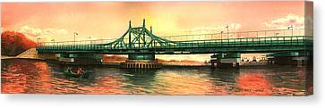 City Island Bridge Fall Canvas Print by Marguerite Chadwick-Juner