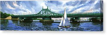 City Island Bridge Summer Canvas Print by Marguerite Chadwick-Juner