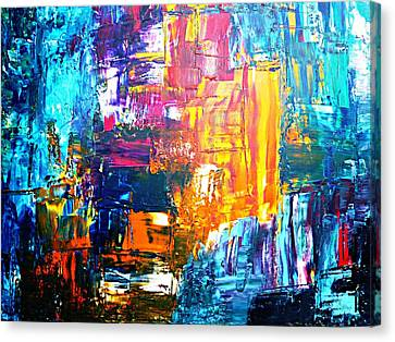 Canvas Print featuring the painting City Life by Piety Dsilva