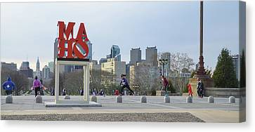 City Life - The Philadelphia Art Museum Canvas Print by Bill Cannon