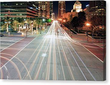 City Light Trails On Street In Downtown Canvas Print by Eric Lo