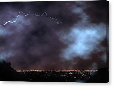 Canvas Print featuring the photograph City Lights Night Strike by James BO Insogna