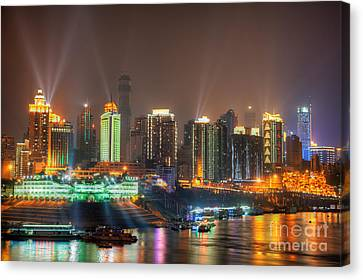 City Lights Of Chongqing Skyline Canvas Print