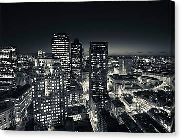 Custom House Tower Canvas Print - City Lit Up At Dusk, Custom House by Panoramic Images